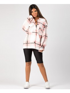 Pink Fleece Oversized Check Shirt Shacket