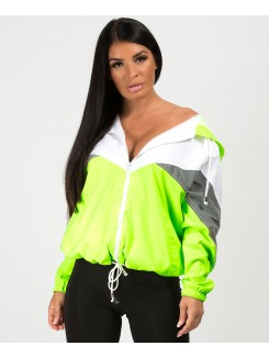 Neon Green Colour Block Reflective Panel Windbreaker Jacket