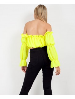 Neon Yellow Bardot Ruffle Frill Ruched Crop Top