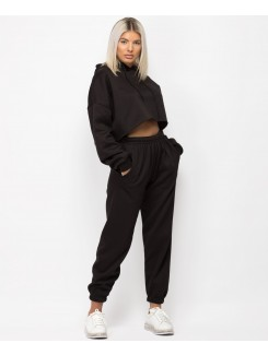 Black Oversized Cropped Hoodie & Joggers Loungewear Set