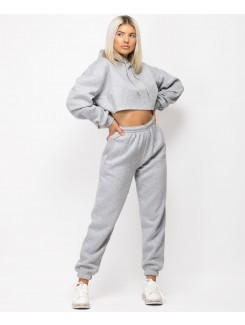 Grey Oversized Cropped Hoodie & Joggers Loungewear Set