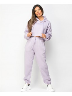 Lilac Oversized Cropped Hoodie & Joggers Loungewear Set