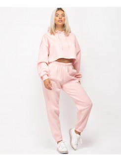 Pink Oversized Cropped Hoodie & Joggers Loungewear Set