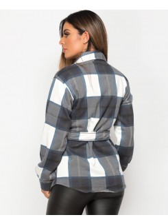 Fleece Oversized Belted Check Shirt Shacket