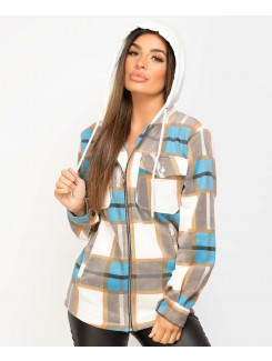 Blue Fleece Hooded Zipper Check Shirt Shacket