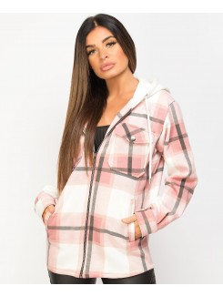 Pink Fleece Hooded Zipper Check Shirt Shacket