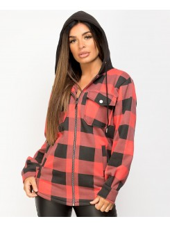 Red Black Fleece Hooded Zipper Check Shirt Shacket
