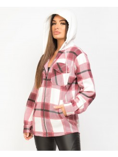 Wine Fleece Hooded Zipper Check Shirt Shacket