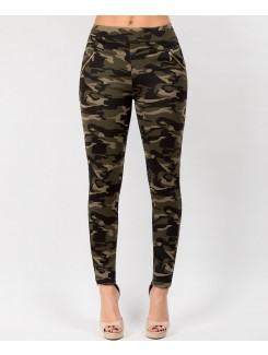 Camouflage Side Zip Fur Lined Leggings