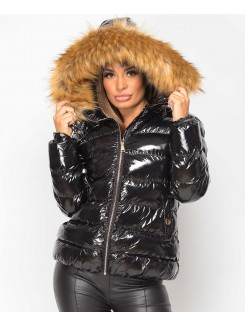 Black-Shiny-Padded-Quilted-Faux-Fur-Hooded-Elastic-Back-Puffer-Jacket-1
