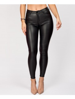 Black Wet Look PU PVC Faux Leather Coated Jeans
