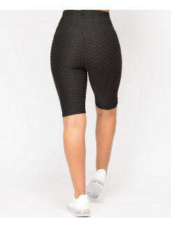 Honeycomb Waffle Textured Stretch Active Wear Cycling Shorts