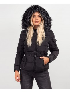 Black-Quilted-Padded-Belted-Chunky-Faux-Fur-Hooded-Puffer-Jacket-1