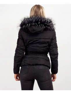 Black Chunky Faux Fur Hood Belted Puffer Jacket