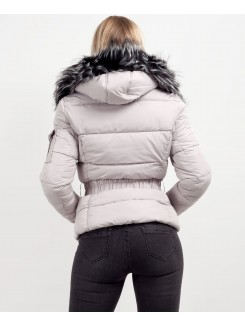 Grey Chunky Faux Fur Hood Belted Puffer Jacket