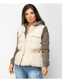 Beige-Quilted-Popper-Button-Drawstring-Waist-Gilet-Bodywarmer-5