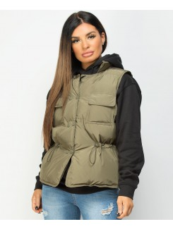 Khaki-Quilted-Popper-Button-Drawstring-Waist-Gilet-Bodywarmer-4