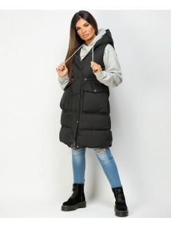 Black Hooded Drawstring Waist Quilted Long Gilet Bodywarmer