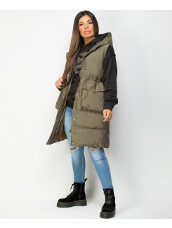 Khaki Hooded Drawstring Waist Quilted Long Gilet Bodywarmer