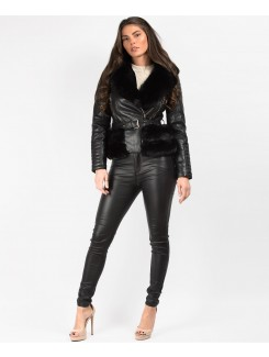 Black-Black-Faux-Fur-Trimmed-PU-PVC-Belted-Biker-Jacket-1