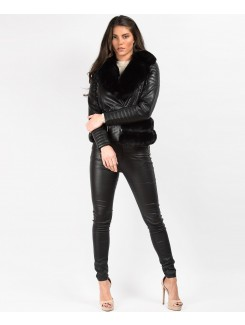 Black Faux Fur Trim PU PVC Belted Biker Jacket