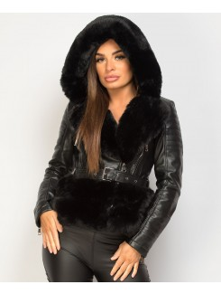 Black-PU-PVC-Faux-Fur-Hooded-Belted-Biker-Jacket-1