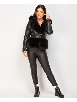 Black Faux Fur Trim PU PVC Hooded Biker Jacket