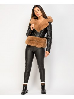 Black Camel Faux Fur Trim PU PVC Hooded Biker Jacket