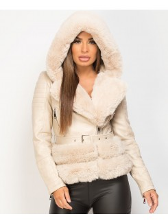 Beige-PU-PVC-Faux-Fur-Hooded-Belted-Biker-Jacket-1