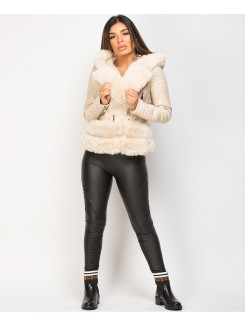 Beige Faux Fur Trim PU PVC Hooded Biker Jacket