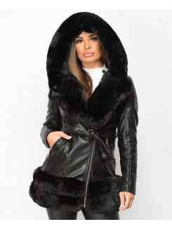 Black-3-4-PU-PVC-Faux-Fur-Hem-Belted-Hooded-Jacket-1