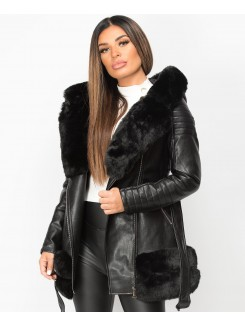 Black PU PVC Faux Fur Hem Hooded Belted 3/4 Jacket