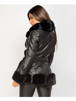 Black Tiered Faux Fur Trim PU PVC Belted Coat