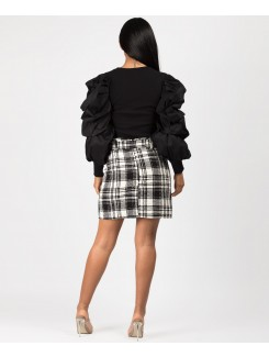 Black Ribbed Ruched Puff Sleeve Top