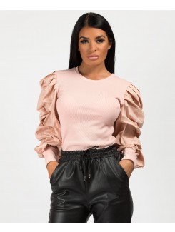 Pink Ribbed Ruched Puff Sleeve Top