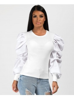 White Ribbed Ruched Puff Sleeve Top
