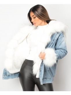 Denim Blue Faux Fur Trim Oversize Hooded Denim Jacket