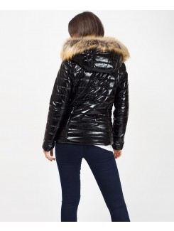 High Shine Vinyl Wet Look Faux Fur Quilted Jacket