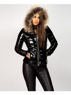 Black-Fur-Hood-Shiny-Wet-Look-Bubble-Puffer-Jacket-4