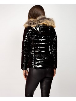 Fur Hood Shiny Vinyl Wet Look Puffer Jacket