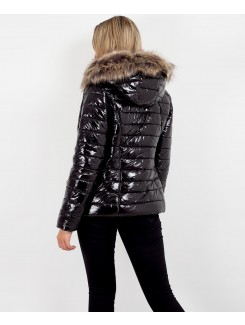 Black Faux Fur Hood Shiny Wet Look Quilted Puffer Jacket