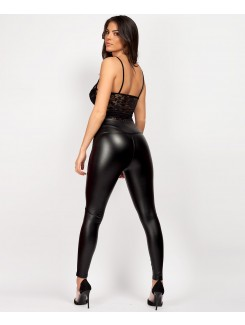 Black Wet Look Matte Faux Leather Leggings