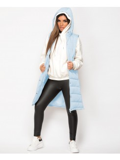 Sky Blue Hooded Side Split Quilted Puffer Long Bodywarmer
