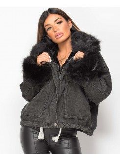 Black-Black-Faux-Fur-Trim-Lined-Oversized-Denim-Jacket-4