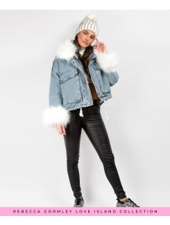 Denim Blue Faux Fur Trim Oversize Denim Jacket