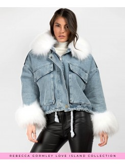 Blue-White-Faux-Fur-Trim-Oersized-Denim-Jacket-4