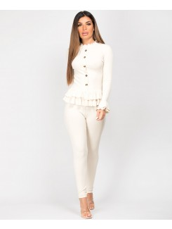 Beige-Frill-Gold-Button-Ribbed-Loungewear-Set-3