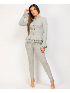 Grey Gold Button Frill Ribbed Loungewear Set
