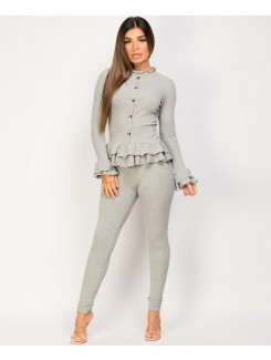 Grey-Frill-Gold-Button-Ribbed-Loungewear-Set-3