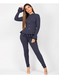 Navy Gold Button Frill Ribbed Loungewear Set